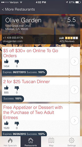 Restaurant Specials Screenshot